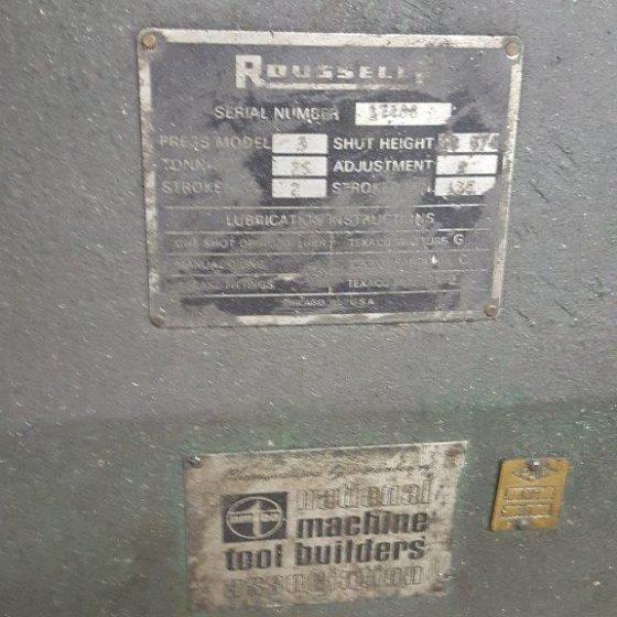 25 Ton Rousselle O.B.I. Press No. 3 Stroke 2