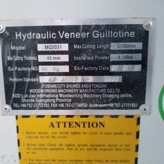 587-18 Hydrolic Veneer Gullotine