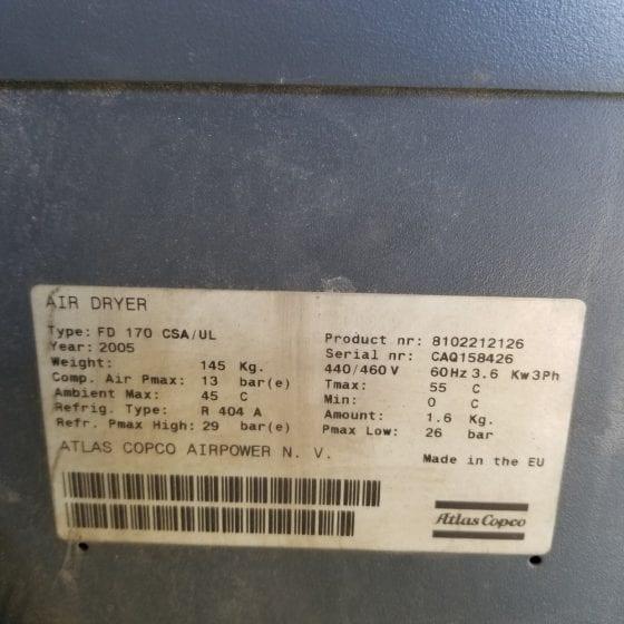 616-10 Atlas copco FD170 air dryer 0