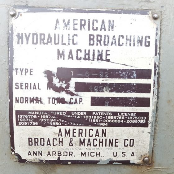 623-8 american Hydrolic broaching machine