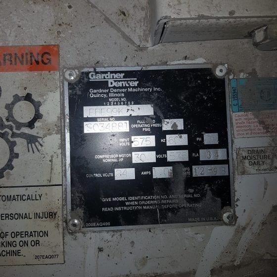 30 HP Gardner Denver Screw Compressor