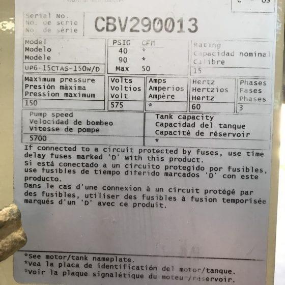 Ingersoll Rand 15HP Screw compressor